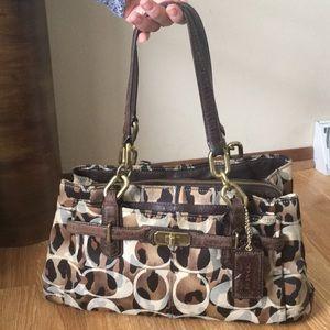 Coach leopard tote purse